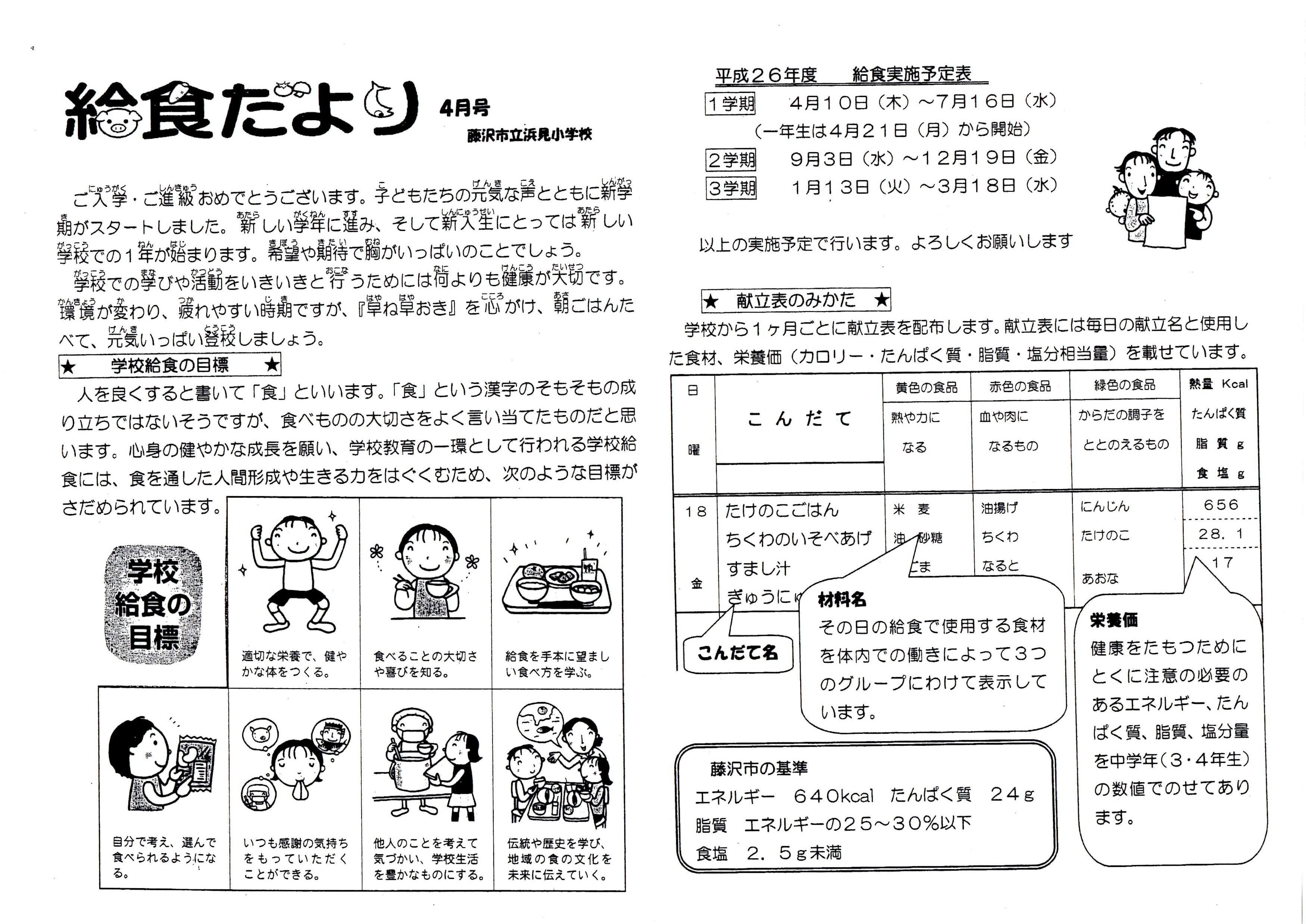 すべての講義 2015年予定表 : 給食だより(4月) - 藤沢市立 ...